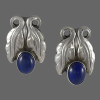 Georg Jensen Silver Earrings No.108 with Lapis