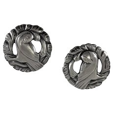 Georg Jensen Silver 'Dove' Earrings No. 66