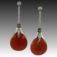 Georg Jensen Earrings No. 27 with Carnelian