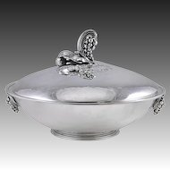 Georg Jensen Sterling Silver Covered Serving Dish No. 408E in Grape Motif