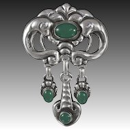 Skonvirke Brooch in Sterling Silver with Green Chrysophase