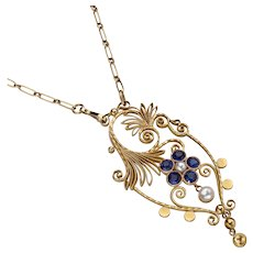 Georg Jensen Gold Pendant Necklace No. 25 with Pearls & Sapphires