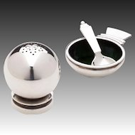 Georg Jensen Salt Celler No. 15 & Pepper Shaker No. 632 in Pyramid