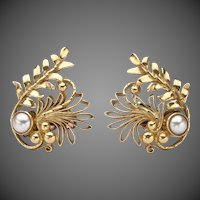 Georg Jensen Gold Earrings No. 53 with Pearls