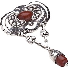 Georg Jensen Silver Brooch No. 80 with Amber