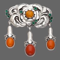 Georg Jensen Silver Brooch No. 74 with Green Agate and Amber