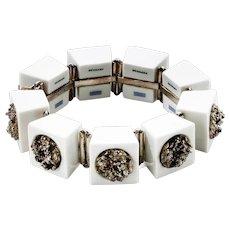 Anton Michelsen White Royal Copenhagen Porcelain with sterling silver Bracelet
