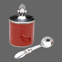 Georg Jensen Cactus Mustard Pot & Spoon with Royal Copenhagen Red Pot