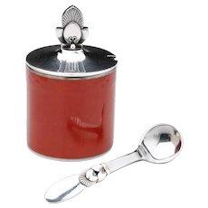 Georg Jensen Cactus Mustard Pot & Spoon with Royal Copenhagen Red Pot