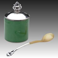 Georg Jensen Acorn Mustard Pot No. 815F & Spoon with Royal Copenhagen Green Pot