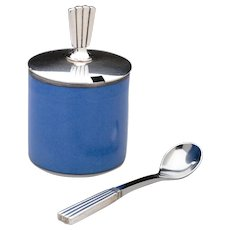 Georg Jensen Bernadotte Mustard Pot & Spoon with Royal Copenhagen Blue Pot