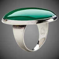 Georg Jensen Modernist Sterling Silver Ring No. 90B with Chrysoprase.