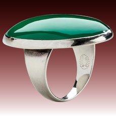 Georg Jensen Modernist Sterling Silver Ring No. 90B with Chrysoprase.