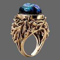 Arts & Crafts Ring with Tiffany Favrile Glass