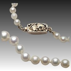 American Arts & Crafts Period Pearl Necklace with Gold Clasp by The Oakes Studios