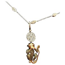 18K Yellow Gold Lorraine Schwartz White & Yellow Diamond Speak No Evil Monkey Pendant Necklace