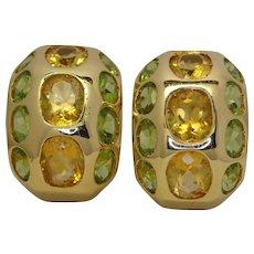 Peridot and Yellow Topaz Earrings