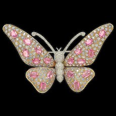 1980s Pink Sapphire and Diamond Brooch