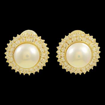 1980s South Sea Pearl and Diamond Earrings