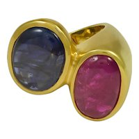 Ruby Sapphire Crossover Ring