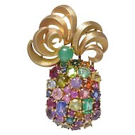 Seaman Schepps Multi Stone Pineapple Brooch