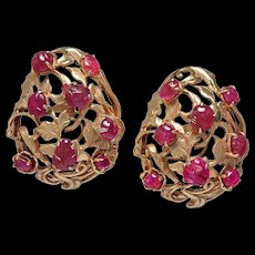 Carved Ruby Gold Earrings with Clips