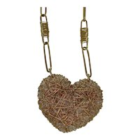 18k Yellow Gold Wire Heart Necklace