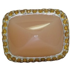 Sabbadini Pink Moonstone & Orange Sapphire Ring