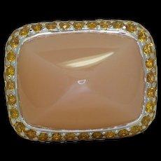 Sabbadini Pink Moonstone & Orange Sapphire Ring
