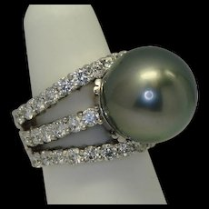 15.85mm Tahitian Pearl & Diamond Ring
