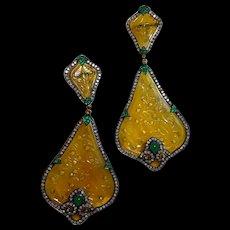 Pair of Yellow Jade Earrings by Bochic