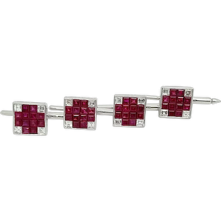 Platinum Diamond Ruby Cufflinks