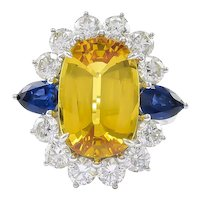 Platinum Ring with a Yellow Sapphire