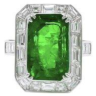 Platinum Diamond & Green Emerald Ring