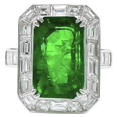 Platinum Diamond & Green Emerald Ring