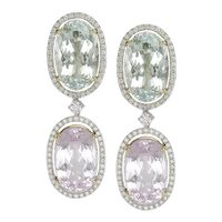 Kunzite, Aquamarine & Diamond Earrings