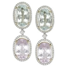 Kunzite, Aquamarine & Diamond Earrings