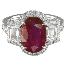 Oval Ruby & Diamond Ring