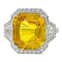 Yellow Sapphire & Trapezoid Diamond Ring