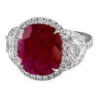 Oval Ruby & Diamond Platinum Ring