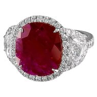 Oval Ruby & Diamond Platinum Ring