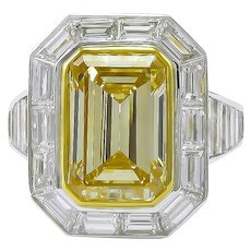 Yellow Diamond  & Platinum Ring