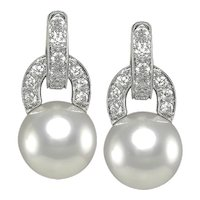 Pair of Diamond & Pearl Earrings