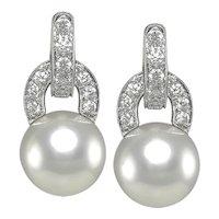 Pair of Diamond & Pearl Earrings