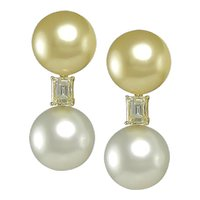 Emerald Cut& Pearl Earrings