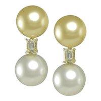 Emerald Cut& Pearl Earrings