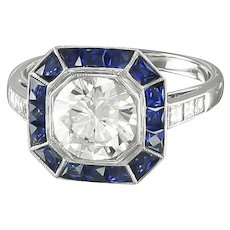 French Cut Sapphires & Diamond Ring