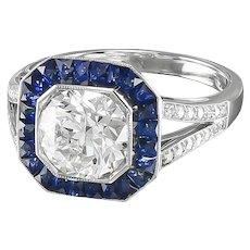 French Cut Sapphires & Diamond Ring