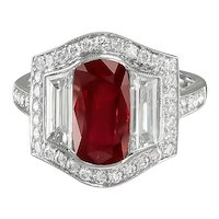 Ruby & Diamond Platinum Ring