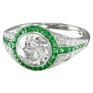 Round Diamond & Emerald Ring